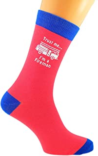 Trust me I'm a Fireman and Fire Engine Image Printed on TWO TONE SALMON PINK AND BLUE Mens Cotton Rich Socks