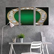 BE.SUN Graffiti Canvas Painting Sticker,Horseshoe,Horseshoe Design Diamonds Fashion Treasure Crystal Figures Digital Print,Contemporary Abstract Art 3 Panels,24x35inchx3pcs,Green Yellow Pearl