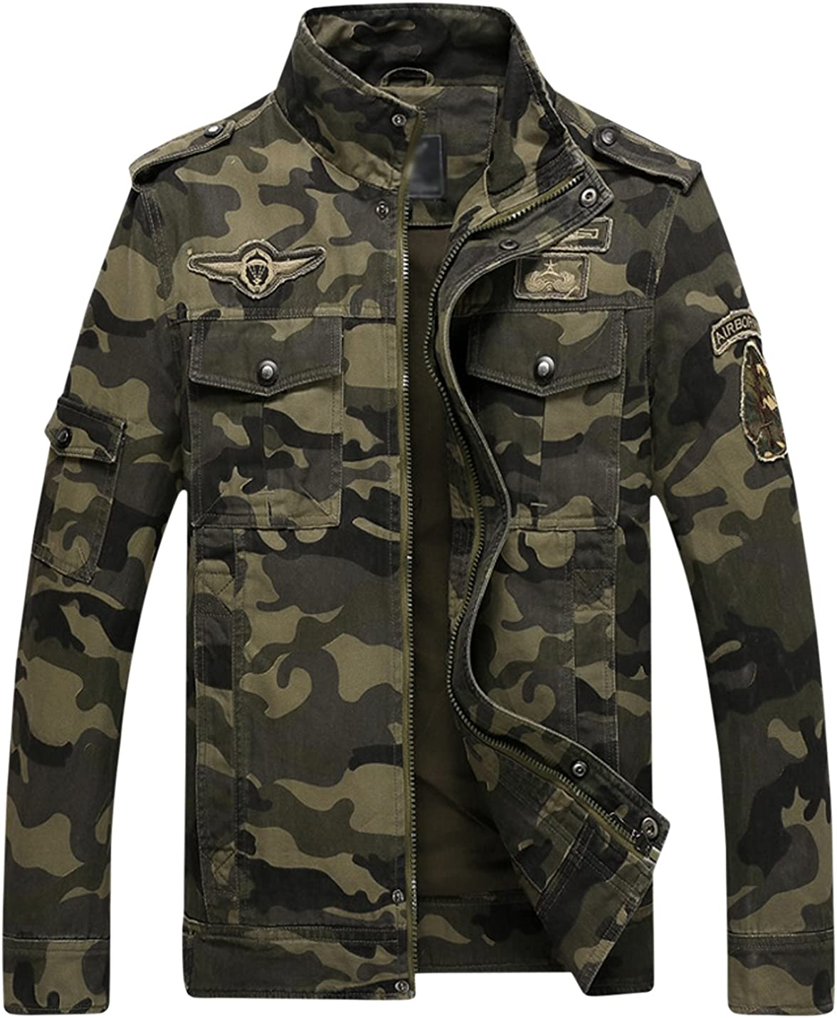 Springrain Men's Casual Slim Stand Tooling Cot Camouflage Collar Max 72% OFF Challenge the lowest price of Japan ☆