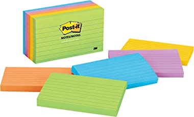 Post-it Notes, 3 in x 5 in, 5 Pads, America's #1 Favorite Sticky Notes, Jaipur Collection, Bold Colors (Green, Yellow, Orange