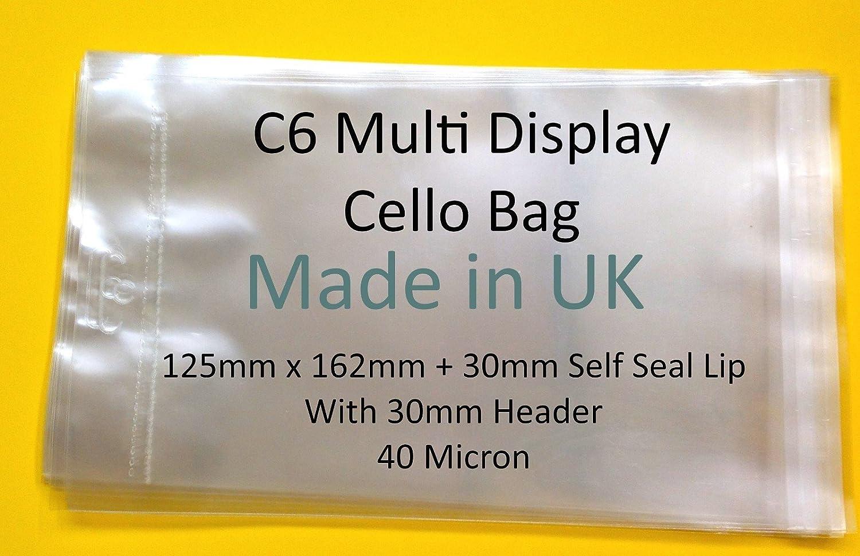 Lot de 100/ /125/mm x 162/mm /avec euroslot Multi C6/Carte affichage pour violoncelle avec avec euroslot/ 30/mm incluse/ /40/microns autocollante en cellophane