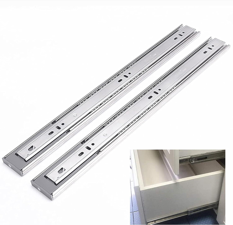 1 par de guías deslizantes de metal para cajones de cierre suave, guías deslizantes para cajones de montaje lateral con rodamientos de bolas de hardware, 25 cm / 30 cm / 35 cm / 40 cm / 45 cm / 50 c