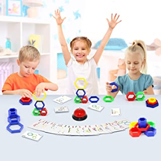 LUKAT Quick Stacking Game for Kids, Family Board Games Educational Game for Toddlers, Color and Shape Matching Game Toy for 3 4 5 6 7 Years Old Children