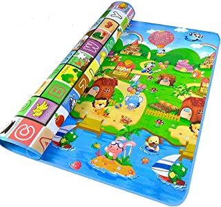 Baby Kid Toddler Play Crawl Mat Fruits Alphabets Pattern Reversible Carpet Playmat Foam Blanket Rug for in or Out Doors