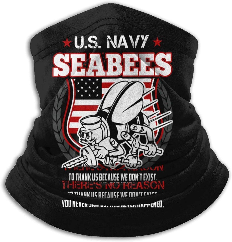 Us Navy Seabees Veteran Face Mask Neck Gaiter Bandana Balaclava Unisex Breathable Scarf Windproof