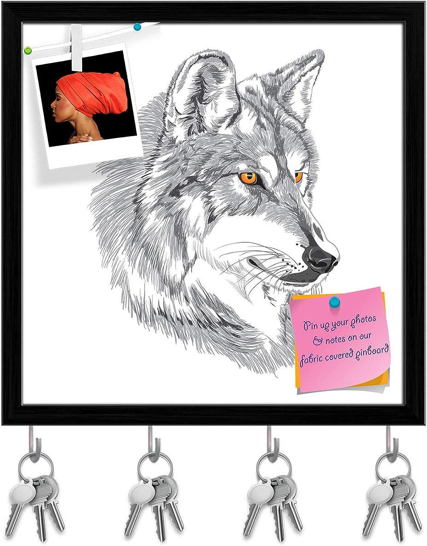 Artzfolio Wolf Muzzle Key Holder Hooks   Notice Pin Board   Black Frame 20 X 20Inch