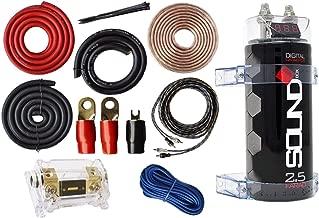 SoundBox 0 Gauge Amp Kit Amplifier Install Wiring & 2.5 Farad Digital Capacitor, 6000W Peak