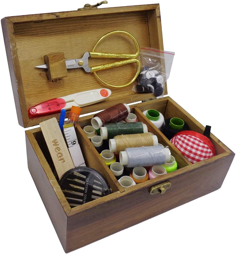 iTun Wooden Sewing OFFicial shop Basket with Accessories Kit Vintage Max 44% OFF Or