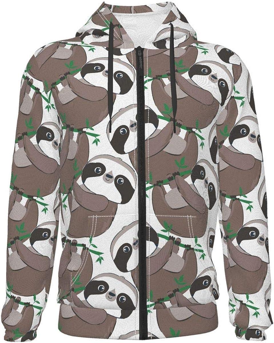 X-Peach Fat Sloth Kids & Youth Full-Zip Fleece Hoodie Boys Graphic Hooded Sweatshirt Jacket Pockets