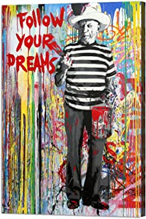 Picasso 'Follow Your Dreams' Canvas Paintings Wall Art Banksy Graffiti Street Art Decor for Living Room Colorful Graffiti Printing Pop Art Pictures Stretched and Framed Ready to Hang(24''W x 36''H)