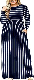 Sponsored Ad - LONGYUAN Women Short Sleeve Casual L-6XL Plus Size Maxi Dress with Pockets