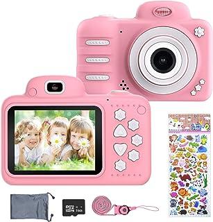 ERAY Cámara para niños Cámara Digital de Fotos & Vídeos 8MP/ 1080P/ IPS Pantalla de 2.4 Pulgadas/ 16 GB SD Tarjeta/ 4X Zoom/ Múltiples Modos/ Apagado Automático Juguete para 3-10 Años Rosa