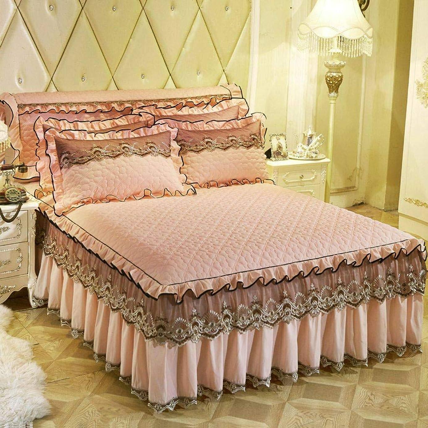 ポケットアベニューより多いQXJR 綿 レース製,花柄,ベッドスカート,ベッドカバー,ラップアラウンドスタイル,単色,いベッドスカート シングル シワ 寝具 ベッド用品-翡翠-180*200cmB