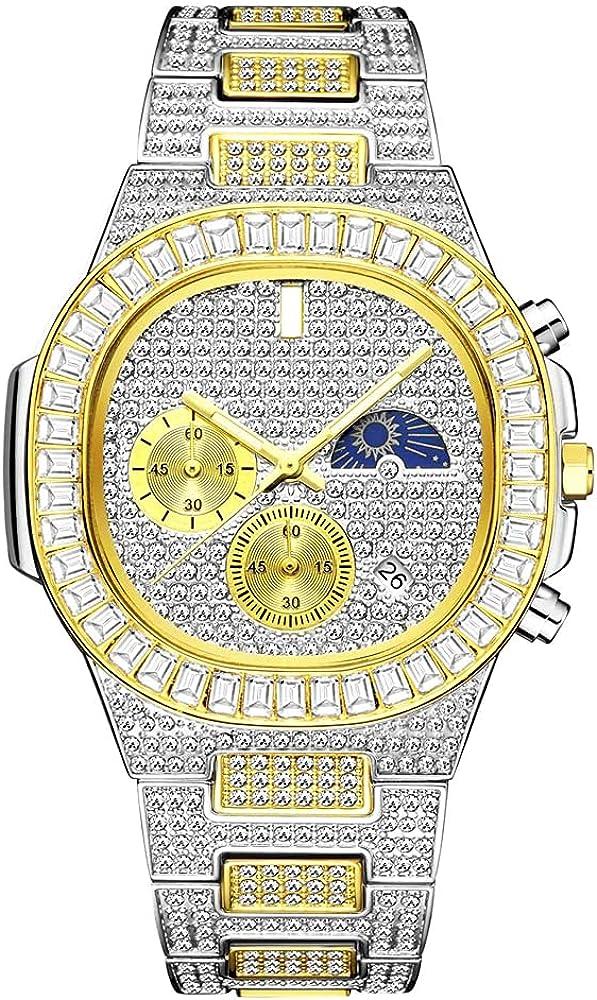 Fantex 18K 44mm Reloj con brazalete con calendario cuadrado helado, esfera de diamante de laboratorio CZ brillante con fase lunar para hombres y mujeres