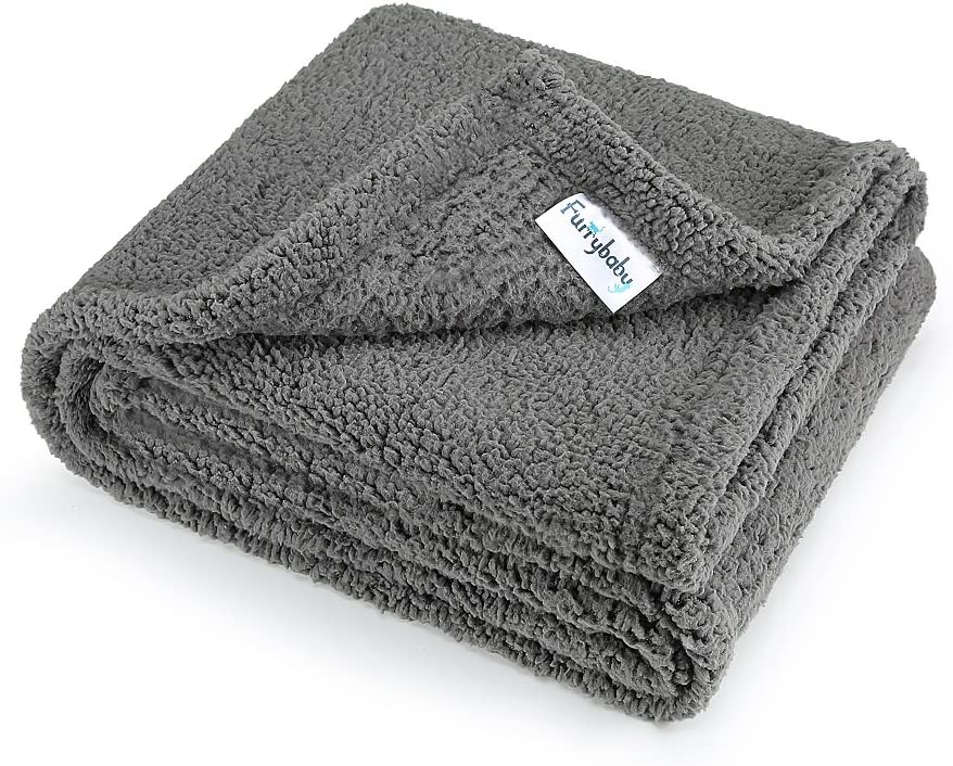 "furrybaby Premium Fluffy Fleece Dog Blanket, Soft and Warm Pet Throw for Dogs & Cats (Medium (3240""), Grey Blanket) : Pet Supplies"