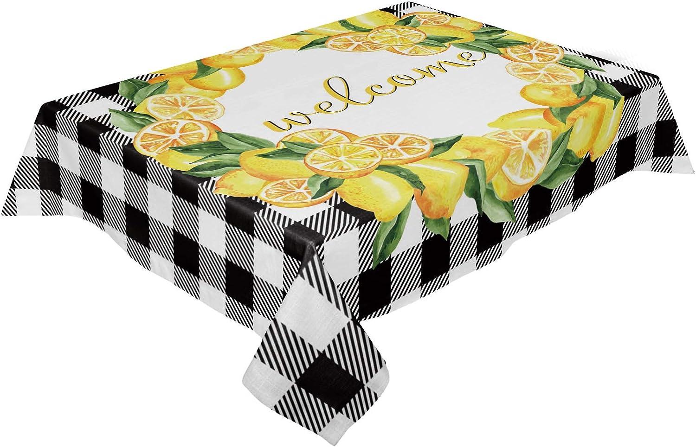 COLORSUM Industry No. 1 Waterproof Tablecloth Summer Fresh depot Circl Tropical Lemon
