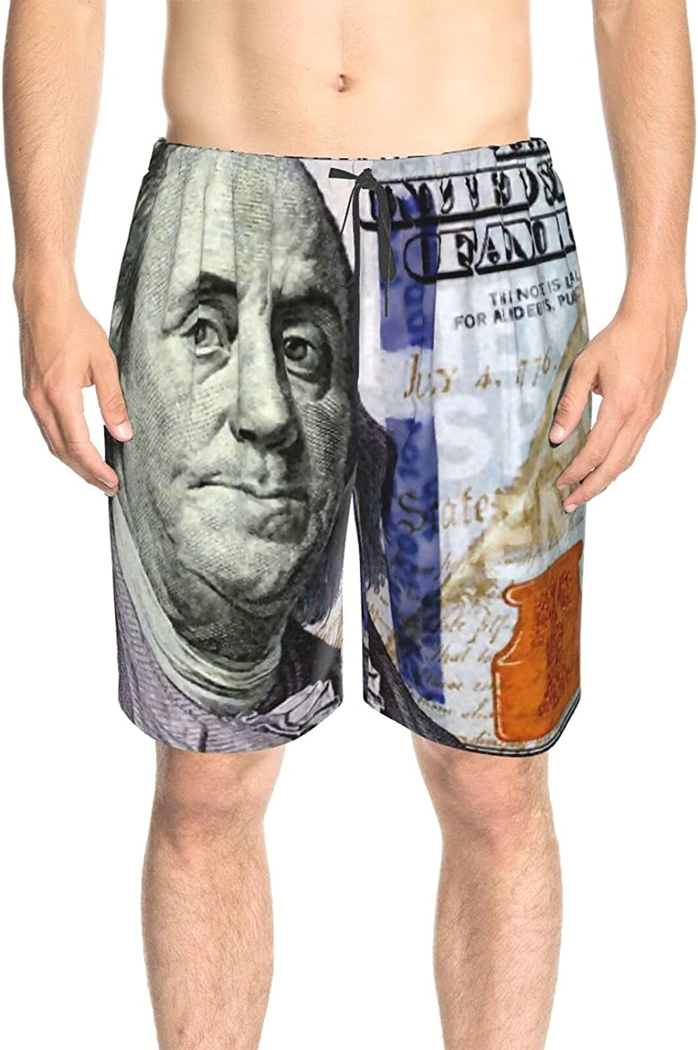 JINJUELS Mens Bathing Suits 100 Dollar Bill Swim Boardshorts Quick Dry Comfy Summer Beach Shorts with Pockets