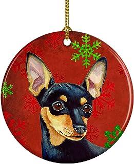 Caroline's Treasures LH9335-CO1 Min Pin Red Snowflake Holiday Christmas Ceramic Ornament, Multicolor