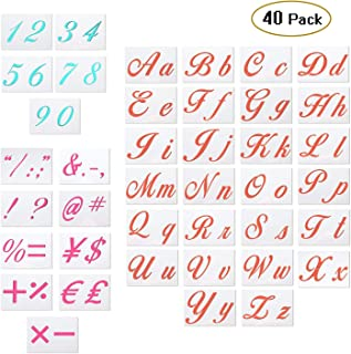 40 Pack Letter Stencils for Painting on Wood - Alphabet Stencils with Calligraphy Font Upper/Lower Case, Numbers and Signs Reusable Plastic Art Craft Stencils for Woodworking & Wall Art