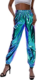 Vimoisa Women Holographic Elastic Jogger Pants High Waist Metallic Hip Hop Trousers Tapered Pants with Pocket