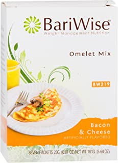 BariWise Low-Carb Bacon Cheese Omelet Mix / High Protein Mix (7 Servings/Box) - Low Carb, Low Fat, Gluten Free