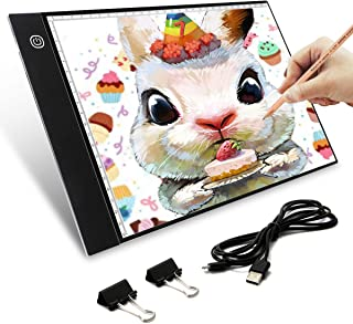 Tablette Lumineuse, Elfeland A4 4.2mm Ultra-mince Portable LED Dessin avec Scale Board Stepless Dimming 0-4500Lux USB Rech...