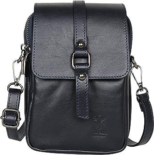 AmbraModa NLX63 - Borsa a tracolla borsa a spalla da donna in vera pelle SAUVAGE, adatta per cellulari e tablet fino a 7 p...