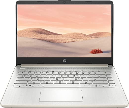 2021 Newest HP Premium 14-inch HD Laptop, Intel Dual-Core Processor Up to 2.8GHz, 16GB RAM, 64GB eMMC Storage, Webcam, Bluetooth, HDMI, Wi-Fi, Gold, Windows 10 with 1 Year Microsoft 365
