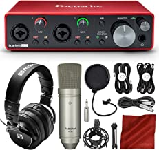 Focusrite Scarlett 2i2 2-in 2-out USB Recording Audio Interface (3rd Gen) + Tascam TM-80 Studio Condenser Microphone, PreSonus HD9 Professional Headphones, Xpix Pop Filter & Professional Accessories