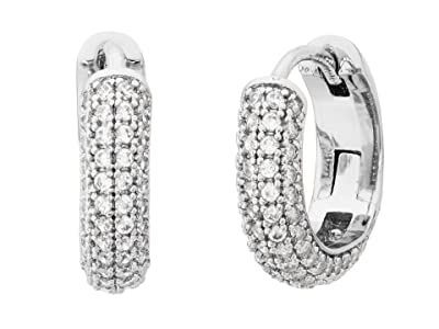 Kate Spade New York Brilliant Statements Pave Mini Huggies Earrings (Clear/Silver) Earring
