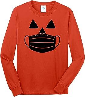 Men's Jack O' Lantern Pumpkin with Mask Halloween Costume Long Sleeve T-Shirt