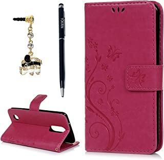 LG Aristo 2 Case, LG Aristo, LG Aristo 2 Plus, LG Rebel 2, LG Risio 3Wrist Strap Flip Kickstand PU Leather Wallet Cover Embossed Floral Butterfly ID&Credit Card Holder for LG K8 2017 & 2018, Rose
