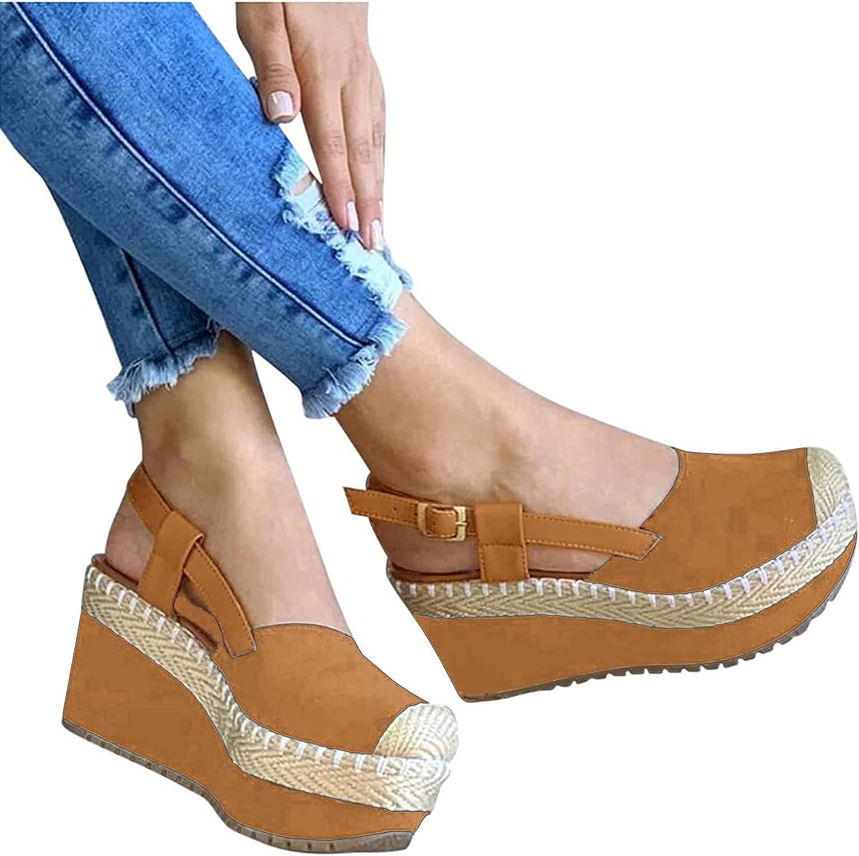 RealKing - Sandalias de paja con tacón para mujer, talla mediana romano, con boca, sandalias de pescado, sandalias para mujer plana, 2021 Peep Toe Platform