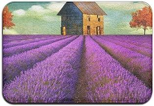 Lavender Flower And House Doormat Anti-slip House Garden Gate Carpet Door Mat Floor Pads
