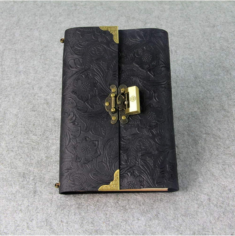 Más asequible BJBCH Código De De De Cuero Retro Libro Diy Hecho A Mano De Cuero Tallado Cuaderno Creativo Bloqueo Diario,negro  precio mas barato