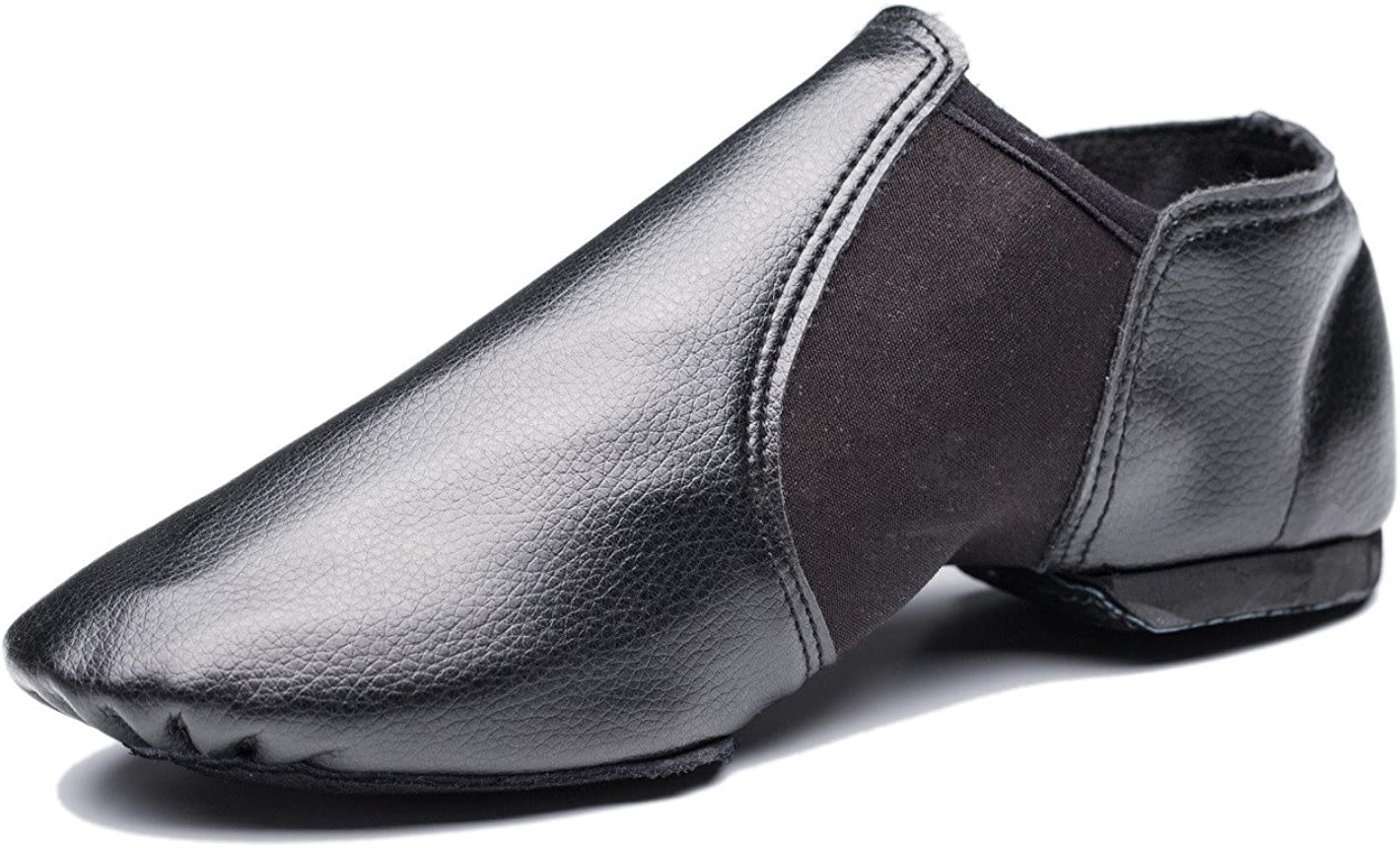 Cheapdancing Breathable Practice Jazz Shoes Soft-Soled Black Leather Ballroom Dance Shoes Unisex for Kids Men Women