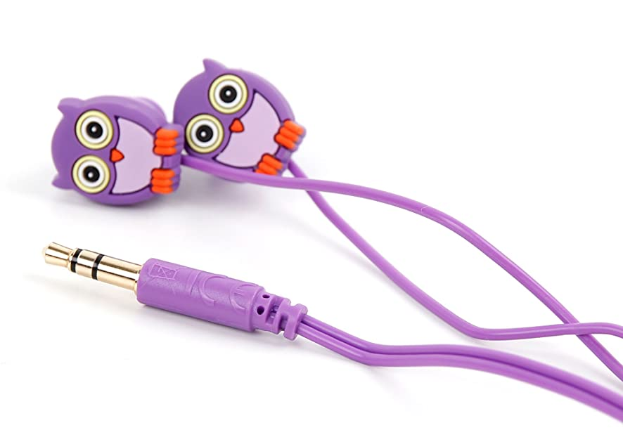 DURAGADGET Purple in-Ear Novelty Owl in-Ear Headphones for Kids - Compatible with Huawei Ascend P6 Unlocked Smartphone 1.5GHz Quad core K3V2E 6.18mm Thickness & LG G2