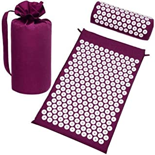 Masaje Yoga Mat Cojín Acupresión Mat Relieve Estrés Dolor Acupuntura Spike Pillow with Bag (Color : A)