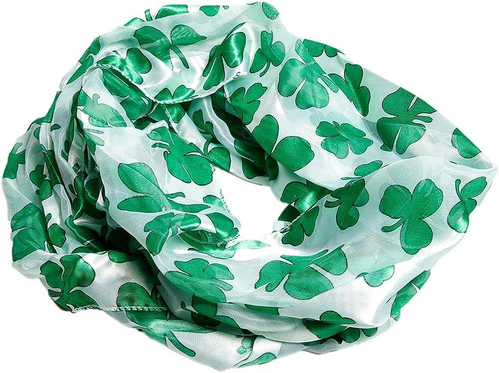 Satin Irish St. Patrick's Day Shamrock Clover Infinity Circle Scarf