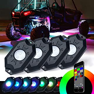 Xprite Victory Series RGB LED Rock Lights Multicolor Neon LED Light Kit w/Bluetooth Controller, Timing, Flashing, Music Mode for Underglow Off Road Truck SUV - 4 Pods