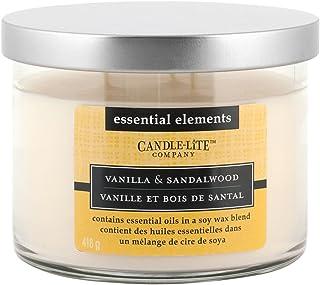 Candle-Lite 6089 - Vela perfumada con 3 mechas (vainilla y sándalo con aceite