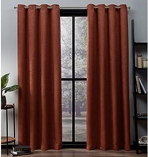 Exclusive Home Curtains Oxford Textured Sateen Thermal Room Darkening Grommet Top Window Curtain Panel Pair, Mecca Orange,...