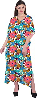RADANYA Women Floral Print Kaftan Loungewear Long Caftan Beach Dress Bikini Swimsuit Cover up