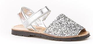 Sandalias Menorquinas para Niñas en Glitter Todo Piel mod203. Calzado infantil Made in Spain, Garantia de calidad.
