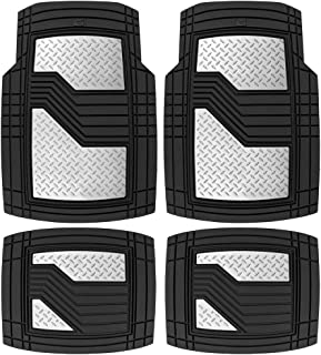CAT Black & Silver Rubber Floor Mats All Weather for Car Truck SUV & Van Total Protection Durable Trim to Fit Liners Heavy...