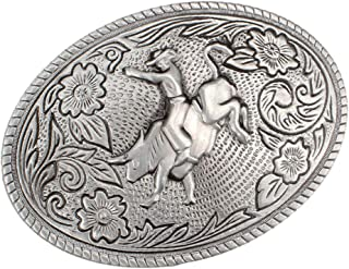 IPOTCH Western Cowboy Retro Oval Metal Belt Buckle Motorcycle Men Belt Accessories