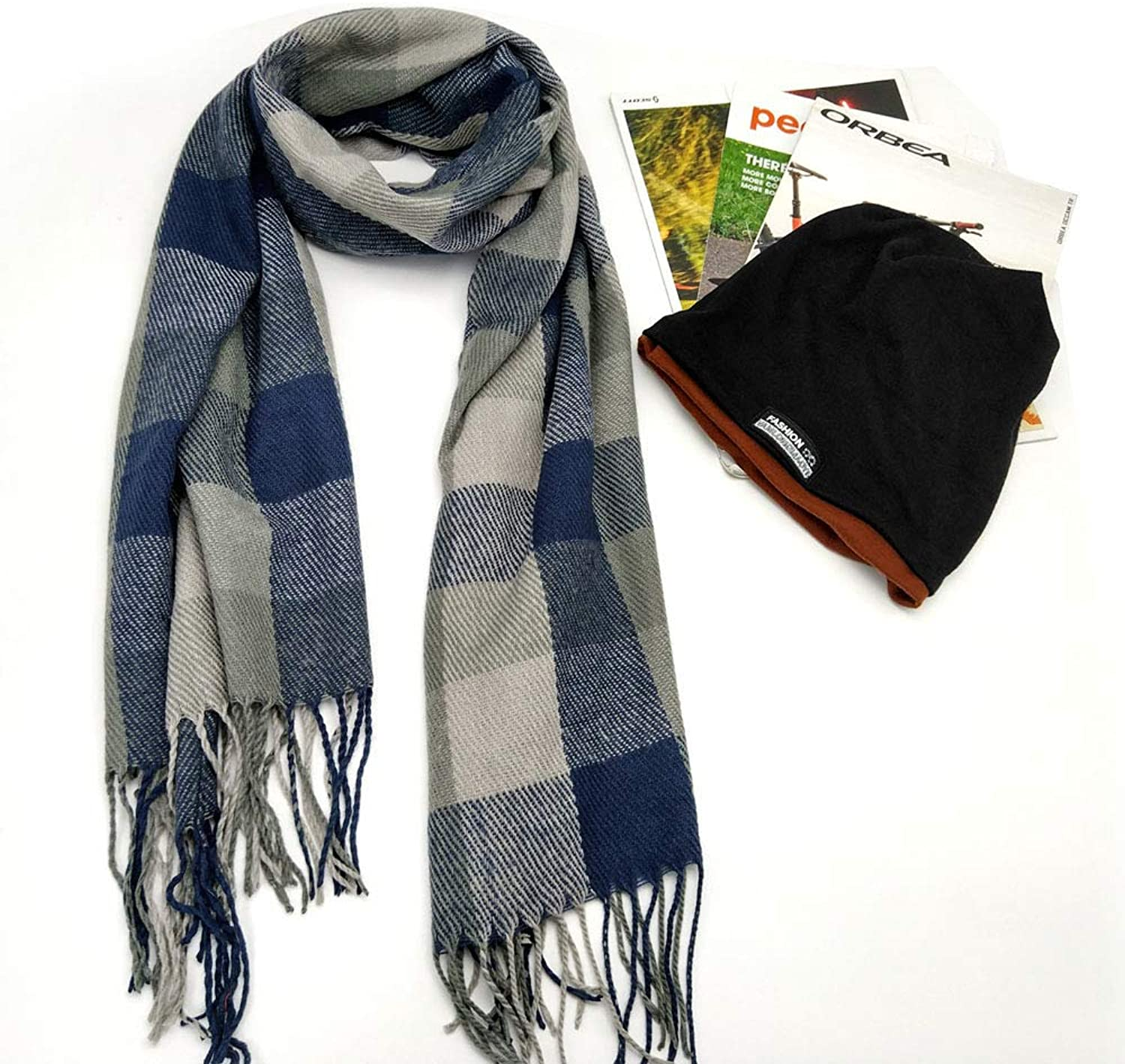 Plaid Shawl Luxurious Cashmere Feel Winter Scarf Beanie Hat Set, Multiple Ways Of Wearing Scarf Set For Women And Men