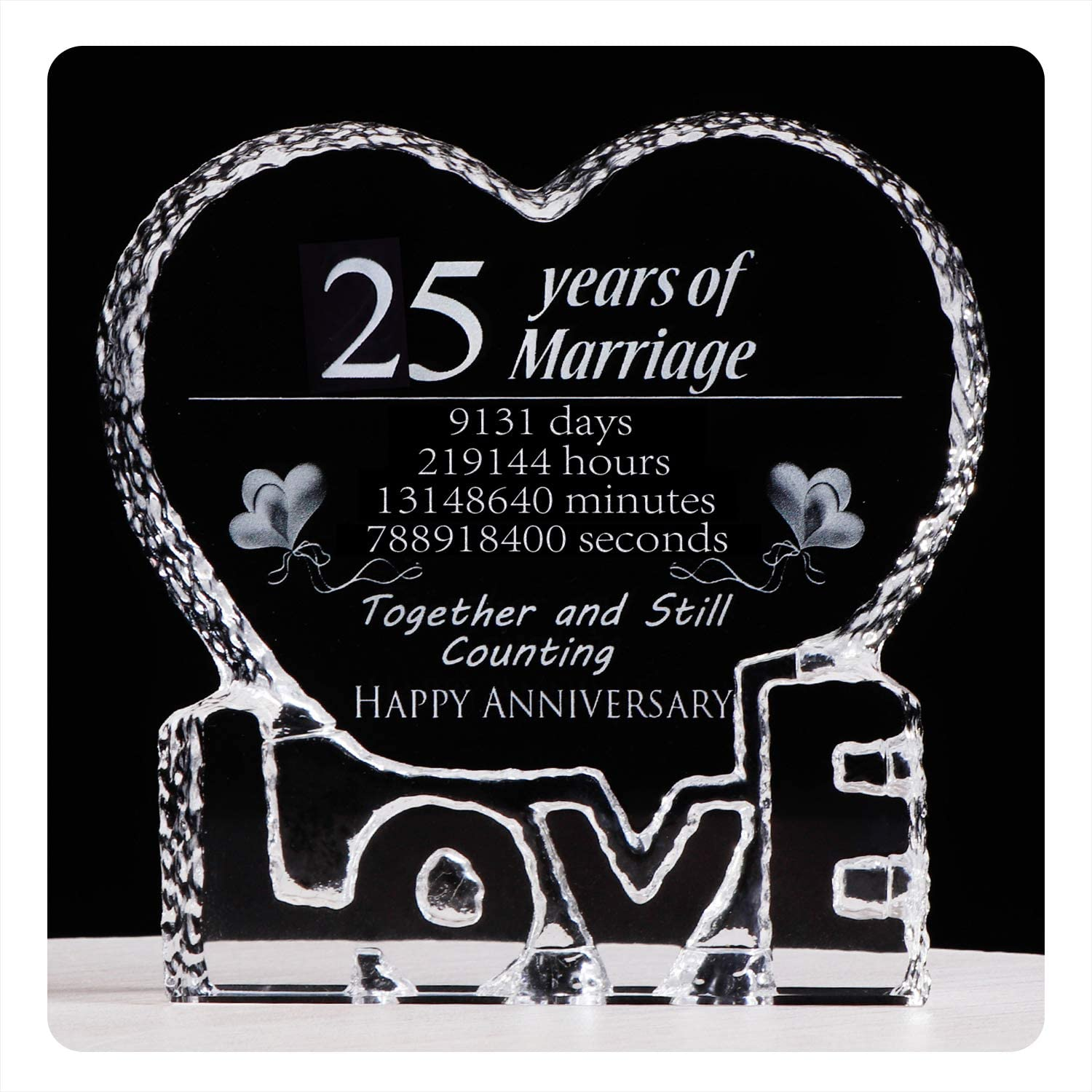YWHL 25 Max 78% OFF Year Marriage 25th Anniversary Crystal Cheap mail order specialty store Paperweig Wedding