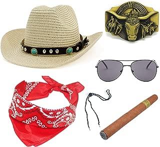 Western Cowboy Straw Costume Hat w/Silver Conchos,Sunglass, Bull Belt Buckle,Cowboy Cigar,Cowgirl Bandanna