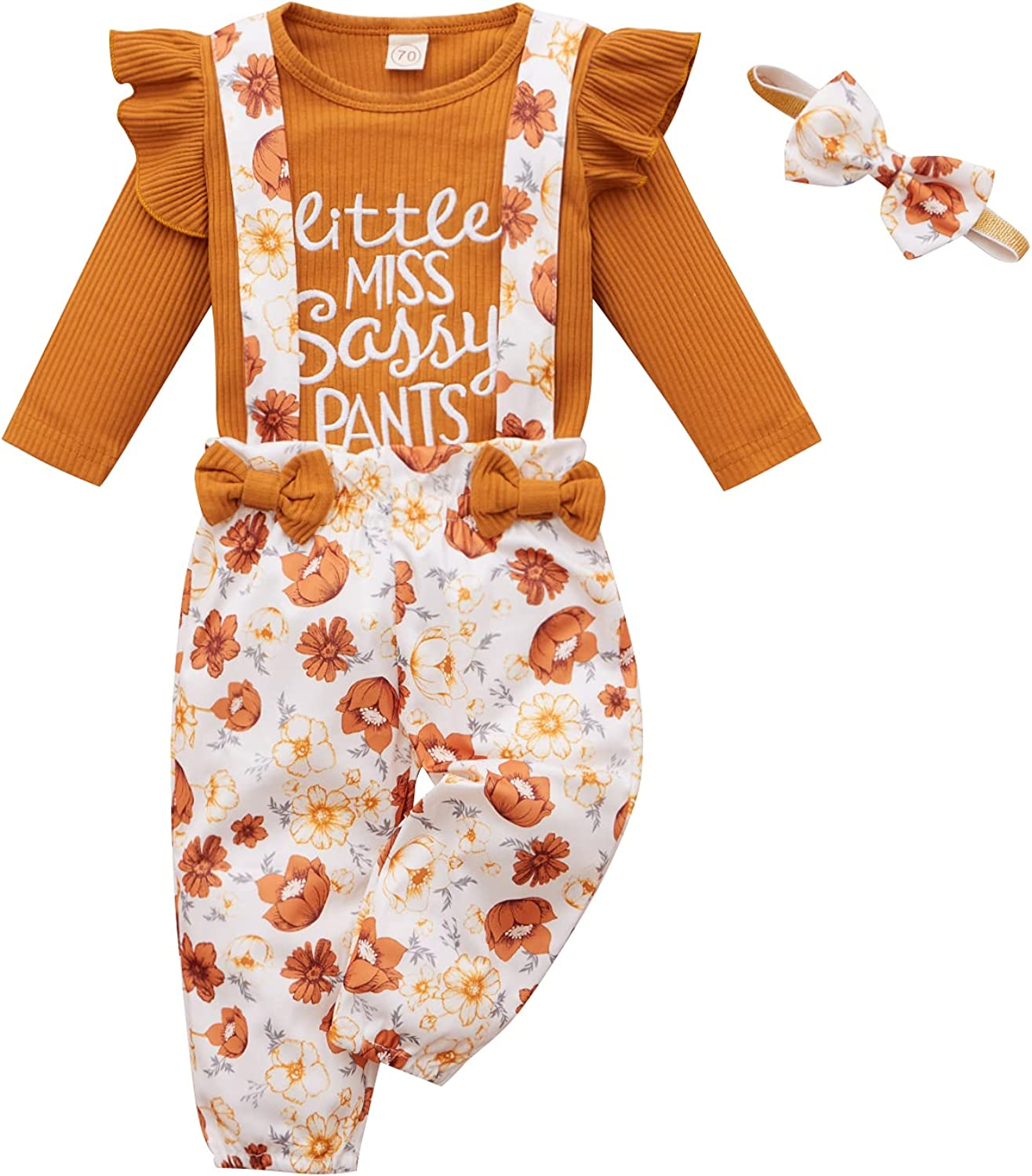 Autumn Winter Newborn Outfits Baby Girls Cute Long Sleeve Romper Bodysuit Top And Floral Long Pants Headband 3Pcs